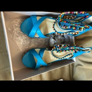 Shoes - Bohemian Beaded Wedge sandals